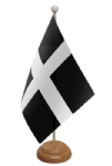 Cornwall Desk / Table Flag with wooden stand and base